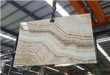 China Beige Onyx Slab Yellow Wooden Veins Slabs