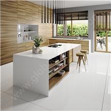 Pure White Nano Glass Stone Kitchen Countertops