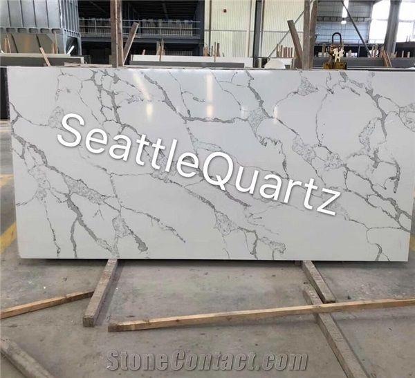 Calacatta Carrara Quartz Stone Slab For