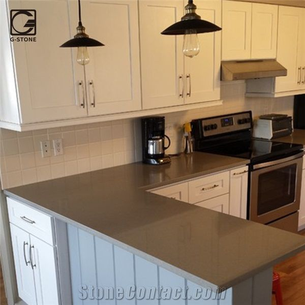 Best Stone And Kitchen: Volcanic Grey Quartz Stone Kitchen Bar Top From China