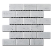 Bianco Carrara Brick Polish Marble Mosaic