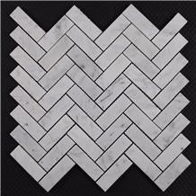 Bianco Carrara Honed Marble Herringbone Mosaic