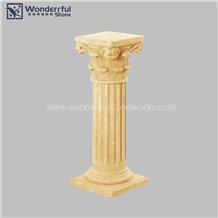 Artificial Cast Stone Pedestal Column Carving
