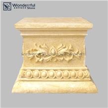 Artificial Stone Pedestal Column Hand Carved