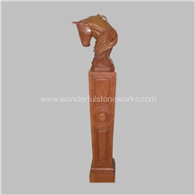 Column Sculptured Horse Head Marble Animal Carving