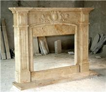 Desert Gold Travertine Stone Fireplace Mantel
