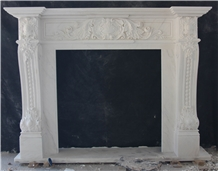 Fangshan White Marble Handcarved Stone Fireplace