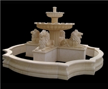 Hand Carved Marble Lion Sculptured Stone Fountain
