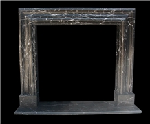 Nero Marquina Marble Stone Fireplace Mantel