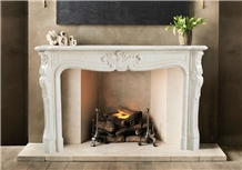 New Cream Marfil Marble Fireplace Surround Mantels