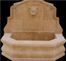 Wall Fountain Handcarved Lion Head Marble Fountain
