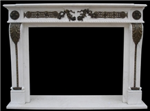White Marble Cast Bronze/Brass Fireplace Mantels