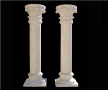 White Marble Sculptured Stone Column Stone Pillars