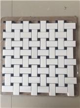 Basketweave Marble Bathroom Wall Mosaic Tile