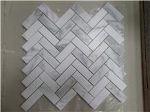 Carrara Marble Herringbone Mosaic Tiles