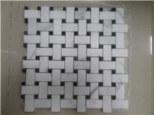 Carrara White Marble Basketweave Mosaic Tiles