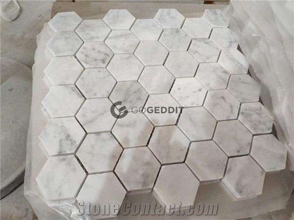 Bianco Carrara Polished 4 Hexagon