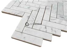 Carrara White Honed 1x4 Herringbone Marble Mosaic