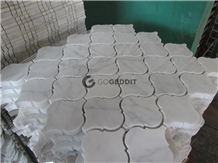 Carrara White Polished Arabesque Marble Mosaic