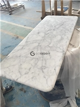 Carrara White Rectangle Marble Dining Table Top