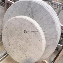 Carrara White Round Marble Coffee Table Top