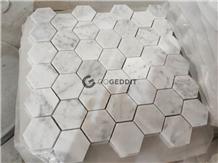 Carrera White Hexagon Marble Bathroom Mosaic Tile