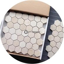 Crema Marfil Hexagon Marble Mosaic Tile Honed