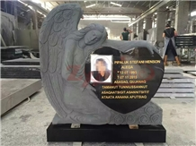Absolute Black Granite Angel Heart Headstone