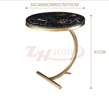 Black Gold Marble Round Tabletop Simple Leg