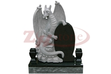 Black Granite Dinosaur Design Pet Tombstone