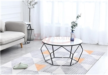 Calacatta Carrara Marble Tea Table& Metal Leg