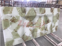 Green&White Piece Onyx Laminated with Glass Panel