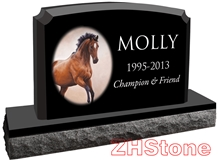 Horse Absolute Black Granite Pet Monument