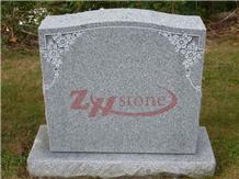 Lucky Clover Design Sesame White Granite Monument