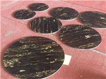 Nero Portoro Marble Round Tabletop ,Black Marble