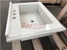 Plum Blossom Quartz Vanity Top Basin Design