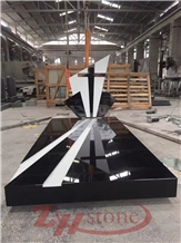 Shanxi Black&White Marble Cross Single Tombstone