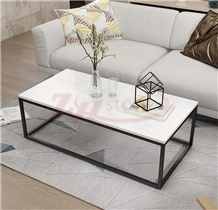 Star White Marble Tabletop with Black Leg