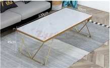 White Rhino Marble Square Table Top&Gold Metal Leg