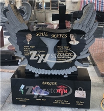 Wing Design Shanxi Black Granite Heart Monument