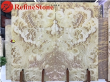 Book Matched Onyx Slabs for Background Wall