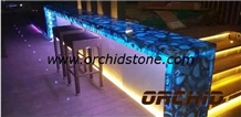 Agate Blue Semiprecious Stone Bench Tops, Commercial Counters