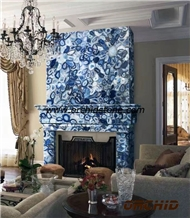 Blue Agate Semi Precious Stone Fireplace
