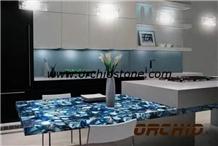 Blue Agate Semiprecious Stone Kitchen Countertops