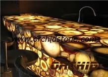 Yellow Agate Countertops,Semi Precious Bar Tops