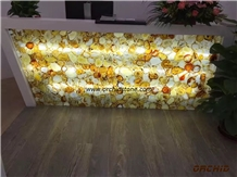 Yellow Agate Decorative Backlit Reception Counter Table