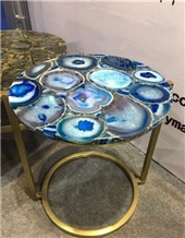 Blue Agate Translucent Stones Desk,Coffee Table