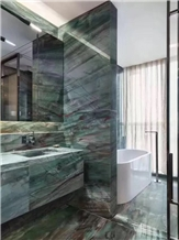 Botanic Green Quartzite Modern Bathroom Design