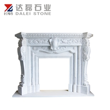 Antique Carrara White Marble Fireplace Mantel