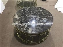 Chinese Black Marble Nero Venato Round Table Tops